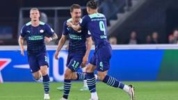Vreugde bij de PSV'ers na de goal van Olivier Boscagli (Foto: OrangePictures)