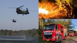 Met man en macht wordt de brand bij natuurgebied Deurnese Peel bestreden. (Foto's: SQ Vision, René van Hoof & Luchtmacht)