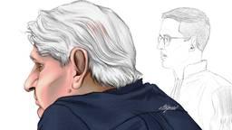 De verdachte in de rechtbank (tekening: Adrien Stanziani).