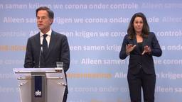 Mark Rutte tijdens een eerdere persconferentie.