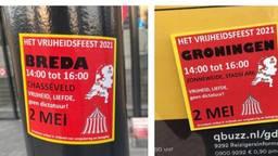 Stickers die het feest aankondigen hangen al een tijdje in Breda.