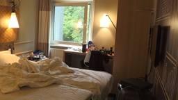 Een studentenkamer in het IBIS Hotel.