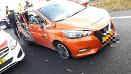 De automobiliste werd bij Dordrecht tot stoppen gedwongen (Foto: Twitter Team Verkeer Zeeland-West-Brabant).