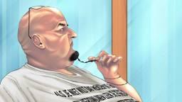 Janie H. tijdens de behandeling van zijn zaak (tekening: Adrien Stanziani)
