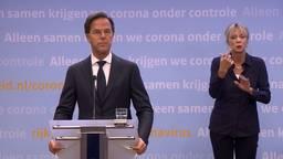 Premier Rutte tijdens de persconferentie (archieffoto).