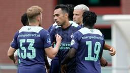 PSV scoorde zes keer tijdens de eerste oefenwedstrijd voor het nieuwe voetbalseizoen, tegen RWDM (Foto: ANP 2021/Jeroen Putmans).