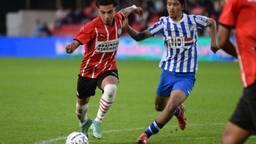 Mohamed Amin Doudah (l.) op weg naar zijn eerste doelpunt voor Jong PSV (Foto: Orange Pictures).