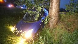 De auto belandde in een sloot (foto: Bart Meesters / SQ Vision).