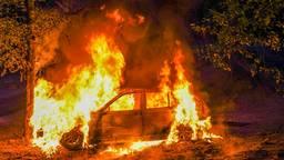 Auto gedumpt en in brand gestoken in bos bij Veldhoven