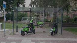 De groene Go Sharing-deelscooters. (Foto: Freddy van Houtert)