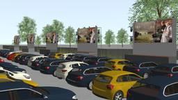 Zo komt de drive-inbioscoop eruit te zien (beeld: Fabulous Tilburg Drive)
