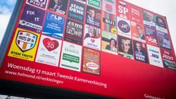 Een verkiezingsbord in het centrum van Helmond (foto: ANP).