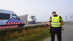 De weg werd afgesloten (foto: Jeroen Stuve).