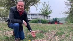 Boeren zaaien nieuw gras in bij provinciehuis: 'We hebben er een rotzooi van gemaakt'