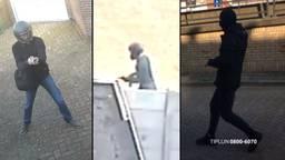 De drie schutters, mogelijk gaat het om dezelfde man (foto: politie).