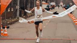 Björn Koreman in Wenen toen hij de marathon won.