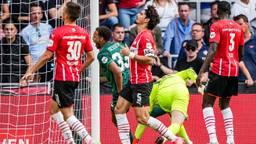 Teleurstelling bij de PSV-spelers na de 4-0 (Foto: ANP)