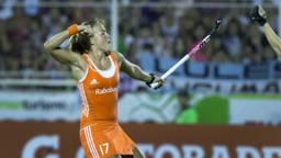 Maartje Paumen in extase na haar doelpunt. (Foto: ANP)