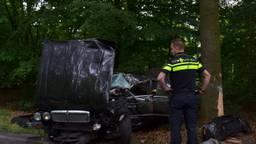 Jaguar klapt op boom in Tilburg