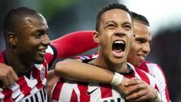 Memphis Depay speelde een grote rol bij het veroveren van de landstitel door PSV. (Foto: ANP).