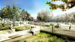 Artist impression van het nieuwe stadspark.