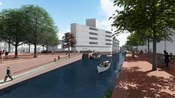 De Nieuwe Mark gezien vanaf de Markendaalseweg, midden in beeld het pand waar restaurant Ume nu zit. (Beeld: Gemeente Breda)