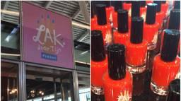 Op Utrecht CS is de nagellak van Tijn te koop in een speciale winkel. (Foto Twitter @verbeteraar)