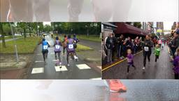 Links de kopgroep van de marathon, rechts de kleintjes