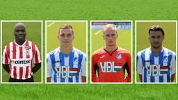 Mathias Pogba (in Sparta-shirt), Jarno Janssen, Guy Smit en Alessio Carlone in  de lappenmand (foto: Johan Manders/FC Eindhoven).