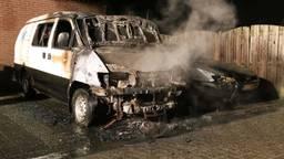 Het busje en de personenauto zijn volledig verwoest (foto: Harrie Grijseels / SQ Vision Mediaprodukties)