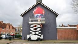 In Breda is woensdag begonnen aan de muurschildering voor bokser Ramon Dekkers. (Foto: Perry Roovers)