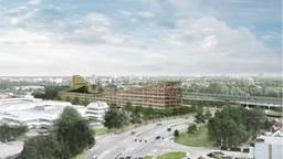 Impressie van The Dutch Mountains. In 2020 moet het gebouw er staan. (Foto: Studio Marco Vermeulen).
