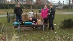 Loes heeft wat vrienden opgetrommeld om vijftig borstels onder bankjes te hangen. (Foto: Loes Kools)