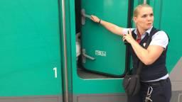 De trein werd opgevangen in de cabine van de machinist. (Foto: Marieke van Gompel)