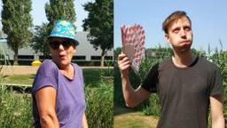 Colleg's Tonnie en Joris genieten / balen enorm van de hitte.
