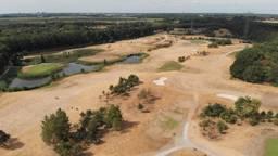 De golfbaan van Landgoed Bergvliet ligt er, op de greens na, kurkdroog bij. (foto: Wouter Reedijk)