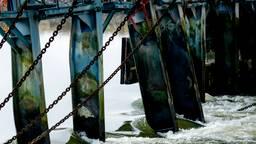 Medewerkers van Rijkswaterstaat bouwen een tijdelijke dam bij de beschadigde stuw van Grave. (Foto: ANP).