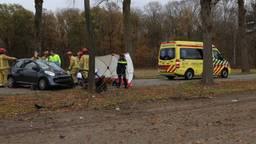 De vrouw zat bekneld en moest door de brandweer uit de auto gehaald worden. (Foto: Hans Hamersveld)