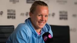 Kiki Bertens na afloop van de halve finale in Madrid op de persconferentie. (Foto: VI Images)