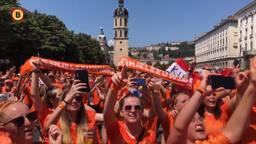 De Supporters in Lyon zijn klaar voor de wedstrijd. (Foto: Omroep Brabant)