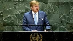 Koning Willem-Alexander tijdens zijn toespraak bij de VN. (Foto: ANP)