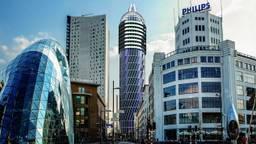 De 'condoomtoren' in een gefotoshopte skyline.