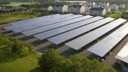 Een algemene impressie van de carports met zonnepanelen (Foto: Blue Oak Energy).