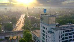 De zon straalt boven Eindhoven. (Foto: Omroep Brabant)