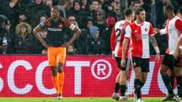 Teleurstelling bij Denzel Dumfries na een Feyenoord-treffer (foto: Hollandse Hoogte).