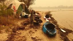 Eindhovenaar Daniel Hurkenesis kampeerde in Australië maar werd geëvacueerd. (Foto: Daniël Hurkenesis)