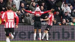 Vreugde bij PSV na de gelijkmaker van Gakpo (Foto: Hollandse Hoogte).