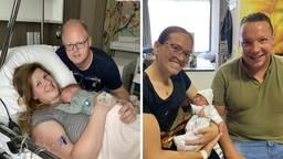 Eveline en Ferdie met hun baby Sven (links) en Shannon en Kevin met hun baby Xavi (rechts).