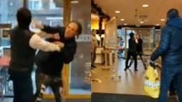 Vechtpartij in supermarkt tussen klant en mondkapjesweigeraar. (Foto: Dumpert.nl)
