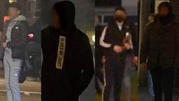De vier relschoppers, onherkenbaar gemaakt door de politie.